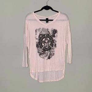 Obey Pink Long Sleeve Graphic Tee Size Medium